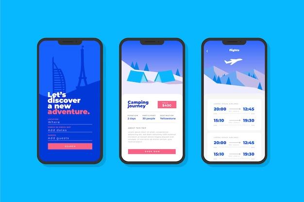 Interfaccia dell'app di prenotazione viaggi