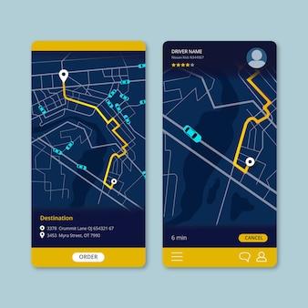 Interfaccia dell'app di trasporto taxi