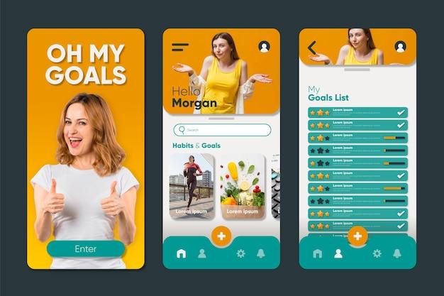 Interfaccia dell'app per il monitoraggio degli obiettivi e delle abitudini