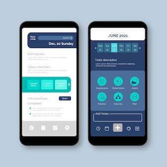 Interfaccia dell'app per la gestione delle attività