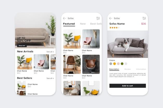 Interfaccia dell'app per lo shopping di mobili