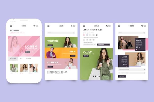 Interfaccia dell'app per lo shopping di moda
