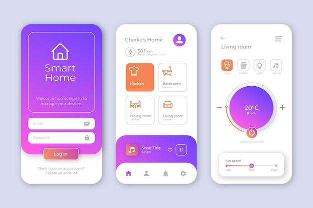 Interfaccia dell'app smart home