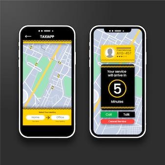 Interfaccia dell'app taxi