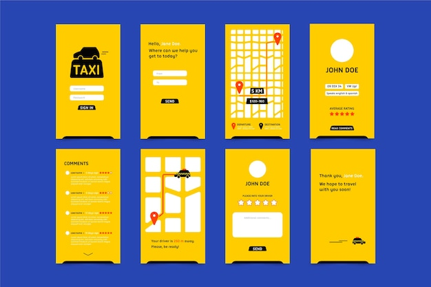 Interfaccia dell'app taxi