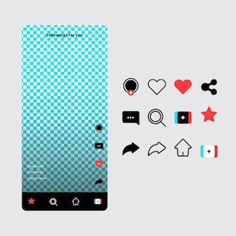 Interfaccia dell'app tiktok e collezione di icone