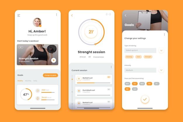 Interfaccia dell'app tracker di allenamento