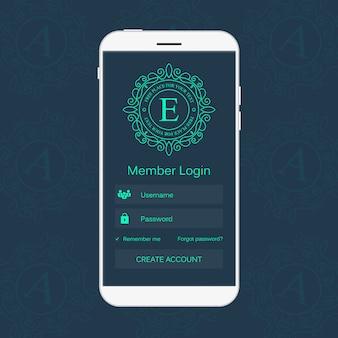 Interfaccia di accesso dei membri web sul telefono.