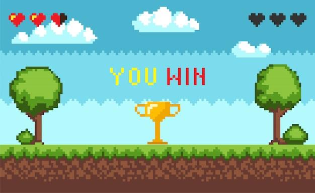 Interfaccia di gioco pixel del computer