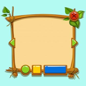 Interfaccia di progettazione del gioco simpatico cartone animato.