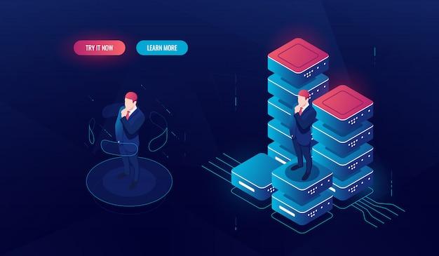 Interfaccia di realtà virtuale, elaborazione di big data, analisi dei dati e report, l'uomo rimane sulla piattaforma