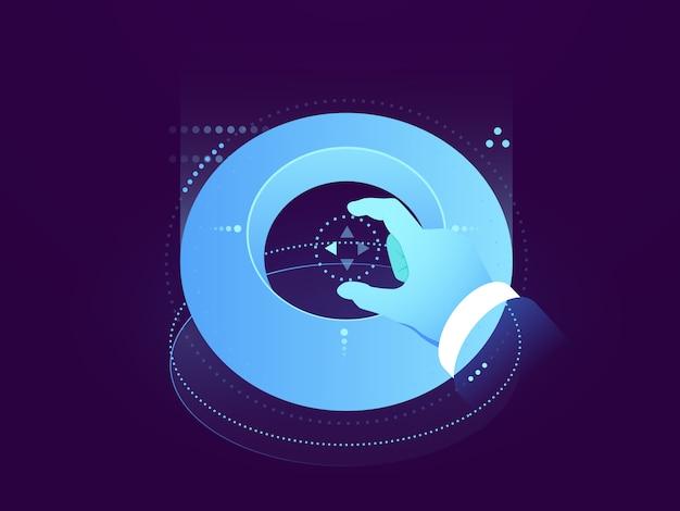 Interfaccia futura, pannello di controllo, display a mano e olografico, elaborazione di big data, creazione di utenti