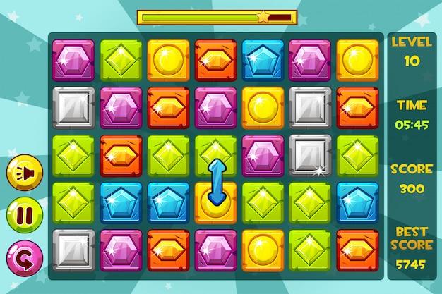 Interfaccia gems match3 games. pietra preziosa multicolore, icone e pulsanti delle risorse di gioco