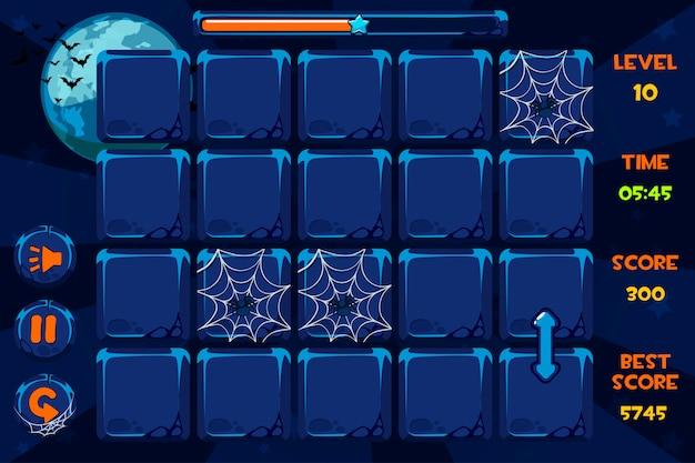 Interfaccia giochi e pulsanti in stile halloween