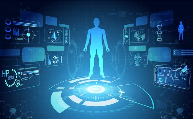 Interfaccia hud digitale per la salute dei dati umani