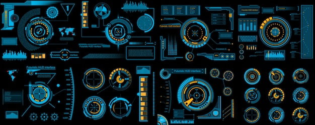 Interfaccia hud futuristica, infografica sci fi.