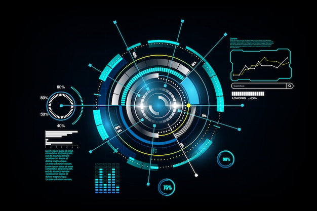 Interfaccia hud networking tecnologico futuristico