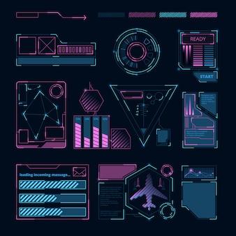 Interfaccia hud, simboli digitali futuristici e cornici per varie informazioni