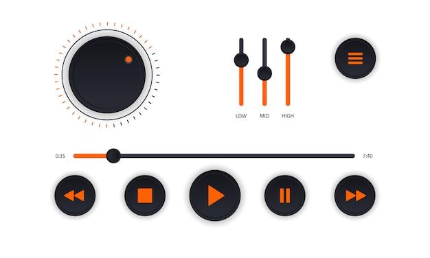 Interfaccia moderna del lettore audio. pannello di controllo bianco del lettore audio