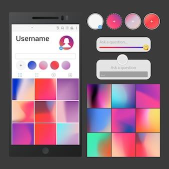 Interfaccia per social media. pubblica sfondi, dispositivi di scorrimento, area domande e modelli di pulsanti storie per l'applicazione, ispirati a instagram
