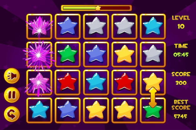 Interfaccia star match3 games. stelle multicolori, icone delle risorse di gioco e pulsanti