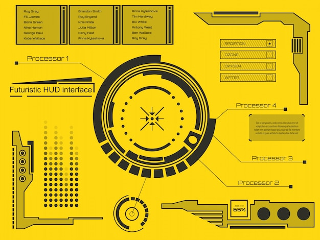 Interfaccia tecnologia futuristica hud ui