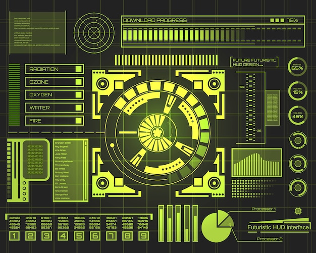 Interfaccia tecnologia futuristica hud ui.