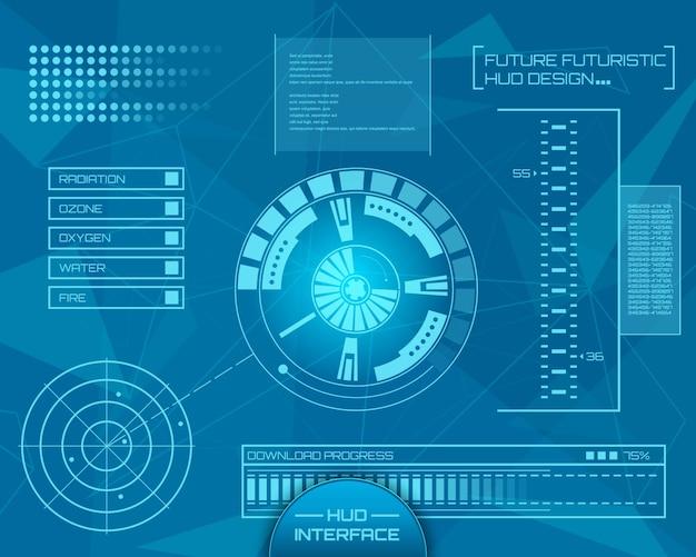 Interfaccia tecnologica futuristica hud ui.