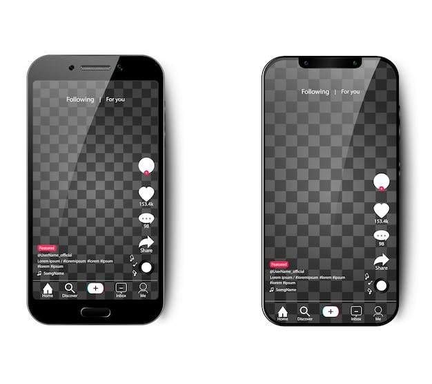 Interfaccia tik tok per smartphone su uno sfondo isolato