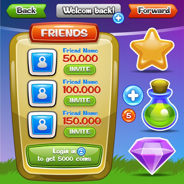 Interfaccia utente del gioco. pulsanti dell'interfaccia impostati per giochi o app. facile da modificare. illustrazione .