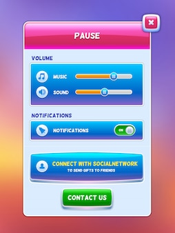Interfaccia utente del gioco. schermata del menu di pausa