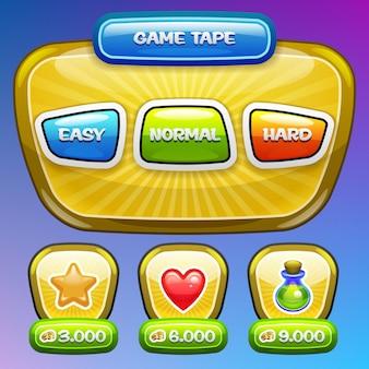 Interfaccia utente del gioco. schermata di complessità del livello. .