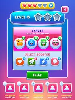 Interfaccia utente del gioco. schermata di livello.
