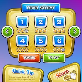Interfaccia utente del gioco. selezione del livello. .