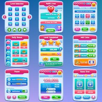 Interfaccia utente del gioco. set completo di interfaccia utente grafica per creare giochi 2d. .