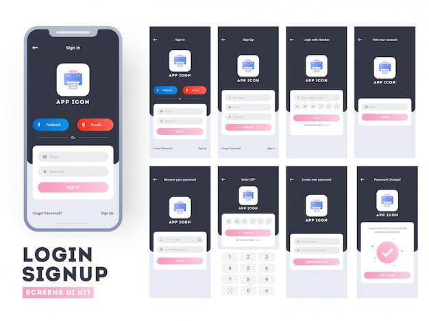 Interfaccia utente dell'app per dispositivi mobili.