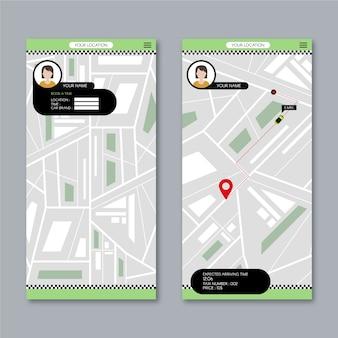 Interfaccia utente dell'app taxi con mappa