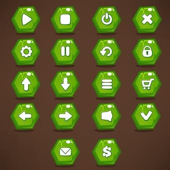 Interfaccia utente di gioco mobile, raccolta di icone e pulsanti verdi luminosi, brillanti e cartoon