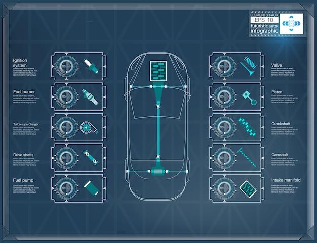 Interfaccia utente futuristica per auto. hud ui. interfaccia utente di tocco grafico virtuale astratto. infografica di automobili. illustrazione.