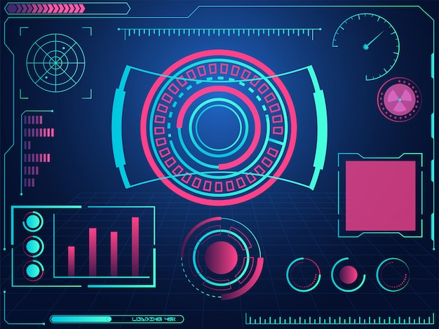 Interfaccia utente grafica futuristica hud e schermi radar su sfondo blu griglia.