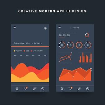 Interfaccia utente ui mobile, ios elementi dell'interfaccia utente della dashboard mobile