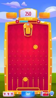 Interfaccia vettoriale del gioco arcade mobile con monete