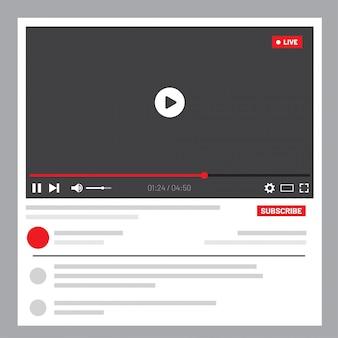 Interfaccia web del lettore video. progettazione dell'interfaccia utente per i social media. finestra streaming live