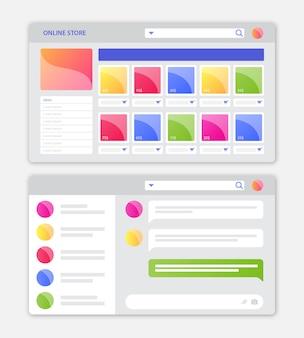 Interfaccia web del negozio online con design piatto