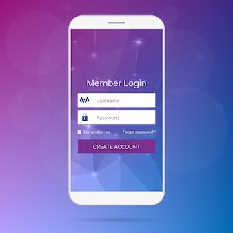 Interfaccia web mobile form di accesso membri.