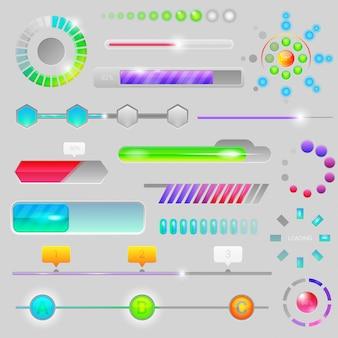 Interfaccia web progressiva della barra di avanzamento per caricare il caricamento o scaricare l'indicatore di progressione del caricamento o del download del set di illustrazione delle indicazioni isolato su sfondo
