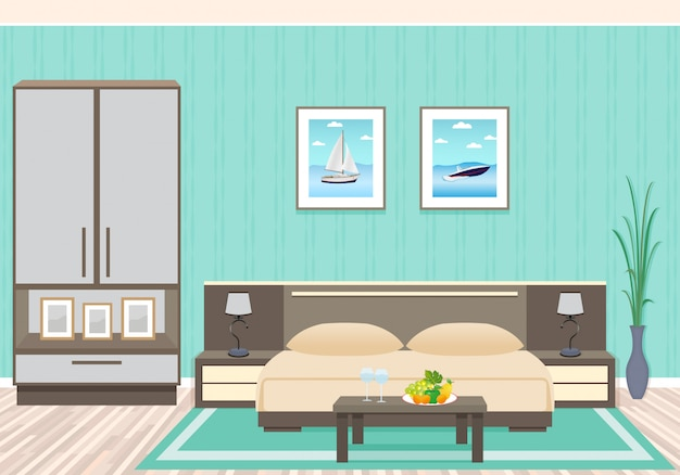 Interior design camera da letto con mobili tra cui letto