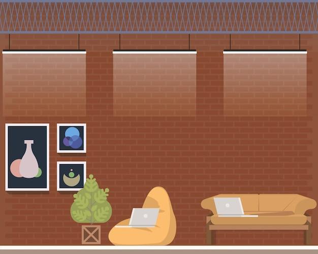 Interior design creativo dello studio del centro di coworking