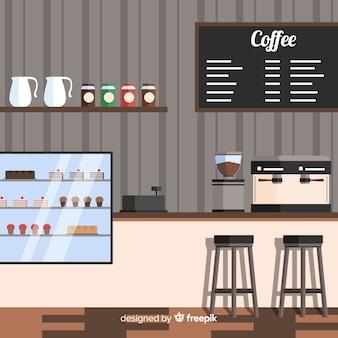 Interior design della moderna caffetteria con design piatto