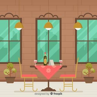 Interior design di elegante ristorante con design piatto